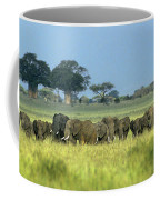 Panorama African Elephant Herd Endangered Species Tanzania Coffee Mug