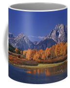 Panorama Fall Morning Oxbow Bend Grand Tetons National Park Wyoming Coffee Mug