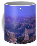 Panorama Moonrise Over Point Imperial Grand Canyon National Park Coffee Mug