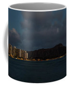 Panorama - Waikiki And Diamond Head In Honolulu Hawaii Skyline At Night Coffee Mug