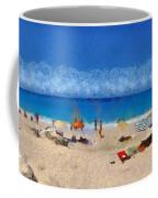 Panoramic Painting Of Porto Katsiki Beach Coffee Mug