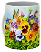Pansies With Butterfly Coffee Mug