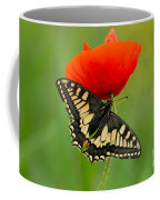 Papilio Machaon Butterfly Sitting On A Red Poppy Coffee Mug
