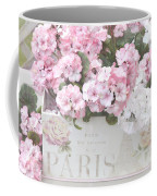 Paris Pink Flowers, Parisian Shabby Chic Paris Flower Box - Paris Floral Decor Coffee Mug