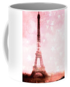 Paris Pink Eiffel Tower - Shabby Chic Paris Dreamy Pink Eiffel Tower With Hearts And Stars Coffee Mug