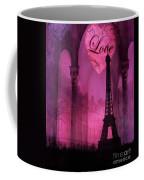 Paris Romantic Pink Fantasy Love Heart - Paris Eiffel Tower Valentine Love Heart Print Home Decor Coffee Mug