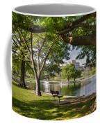Park Bench By A Lake Coffee Mug