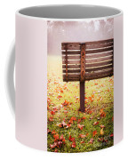 Park Bench In Autumn Coffee Mug by Edward Fielding