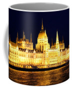 Parliament Building At Night In Budapest Coffee Mug