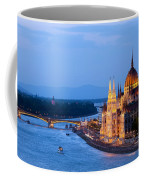 Parliament Building In Budapest At Evening Coffee Mug