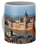 Parliament Building In Budapest At Sunset Coffee Mug
