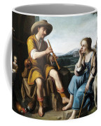 Pastoral Scene With A Shepherd Family Against A Countryside Background Coffee Mug