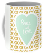 Peace And Love In Aqua And Gold Coffee Mug by Linda Woods