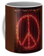 Peace Sign Christmas Lights Coffee Mug