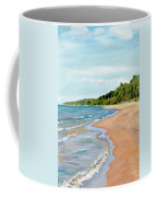 Peaceful Beach At Pier Cove Coffee Mug by Michelle Calkins