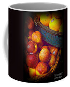 Peaches And Citrus With Blue Wooden Basket Coffee Mug