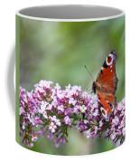 Peacock Butterfly  Inachis Io  On Buddleia Coffee Mug