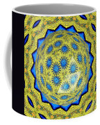 Peacock Feathers Under Polyhedron Glass 3 Coffee Mug