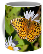 Pearl Border Fritillary Butterfly On An Aster Bloom Coffee Mug