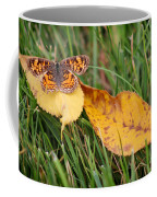 Pearl Crescent Butterfly On Yellow Leaf Coffee Mug