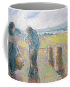 Peasants In The Fields Coffee Mug by Camille Pissarro