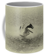 Pelican Landing In Black And White Coffee Mug by Thomas Young