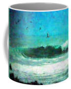 Pelicans Enjoying The Mighty Pacific Impressionism Coffee Mug