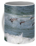 Pelicans Over The Water Coffee Mug