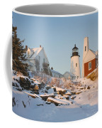 Pemaquid Point Lighthouse Winter In Maine  Coffee Mug by Keith Webber Jr