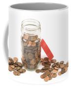 Pennies And Jar On White Background Coffee Mug