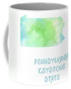 Pennsylvania - Keystone State - Map - State Phrase - Geology Coffee Mug