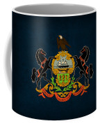 Pennsylvania State Flag Art On Worn Canvas Coffee Mug by Design Turnpike