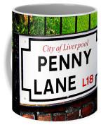 Penny Lane Sign City Of Liverpool England  Coffee Mug