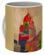 Penobscot Building Iconic Buildings Of Detroit Watercolor On Worn Canvas Series Number 5 Coffee Mug