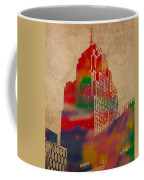 Penobscot Building Iconic Buildings Of Detroit Watercolor On Worn Canvas Series Number 5 Coffee Mug by Design Turnpike