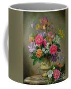 Peonies And Irises In A Ceramic Vase Coffee Mug