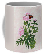 Peonies And Monarch Butterfly Coffee Mug