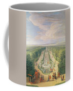 Perspective View Of The Grove From The Galerie Des Antiques At Versailles, 1688 Oil On Canvas Coffee Mug
