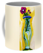 Petunia In Vase With Yellow Background Coffee Mug
