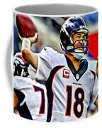 Peyton Manning Throwing The Pass Coffee Mug
