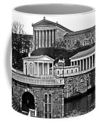 Philadelphia Art Museum At The Water Works In Black And White Coffee Mug