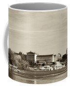 Philadelphia Art Museum With Cityscape In Sepia Coffee Mug