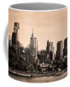 Philadelphia Cityscape In Sepia Coffee Mug