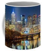Philadelphia Cityscape Panorama By Night Coffee Mug