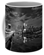 Philadelphia From South Street At Night In Black And White Coffee Mug