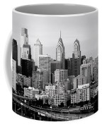 Philadelphia Skyline Black And White Bw Pano Coffee Mug