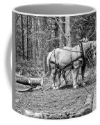 Photograph Of Horses Pulling Logs In Maine Forest Coffee Mug
