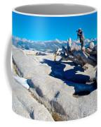 Photographer On Top Of Sentinel Dome In Yosemite Np-ca  Coffee Mug