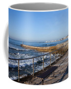 Pier And Promenade By The Atlantic Ocean In Cascais Coffee Mug