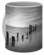 Pier Into The Past Black And White Coffee Mug